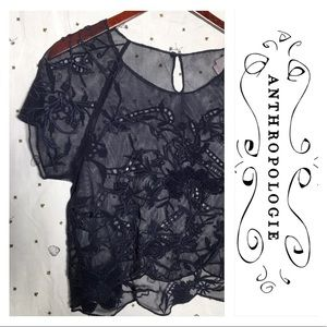 Anthropologie VANESSA VIRGINIA Lace Cropped Top